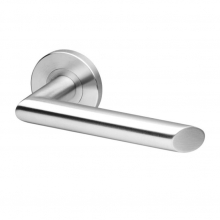 Arhus Stainless steel tube lever handle on rose with escutcheons