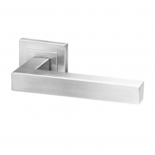 Dala Stainless steel square lever handle on rose with escutcheon