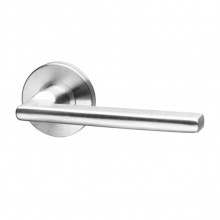 Pello Stainless steel form lever handle on rose with escutcheons Code: Pello