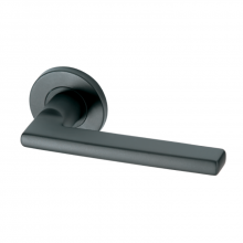 Pello Matt Black Black stainless steel lever handle on rose with escutcheon