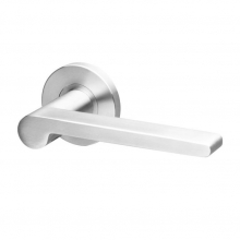 Sanda Stainless steel solid lever handle on rose with escutcheons