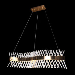 Wave Crystal and Gold Chandelier